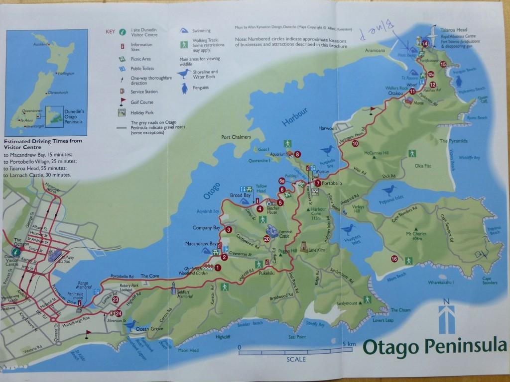 オタゴ半島地図