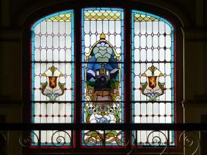 機関車のステンドグラス