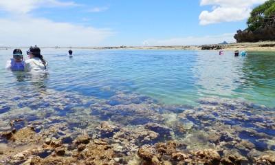 伊江島を遠望する備瀬崎海岸